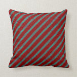 [ Thumbnail: Dark Red and Light Sea Green Colored Pattern Throw Pillow ]