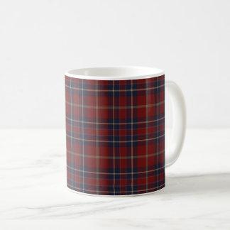 Dark Red and Navy Blue Rustic Plaid Coffee Mug