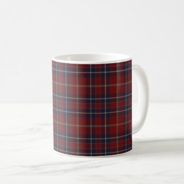 Coffee Themed Dark Red and Navy Blue Rustic Plaid Coffee Mug