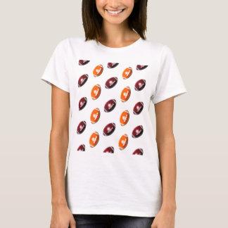 Dark Red and Orange Football Pattern T-Shirt