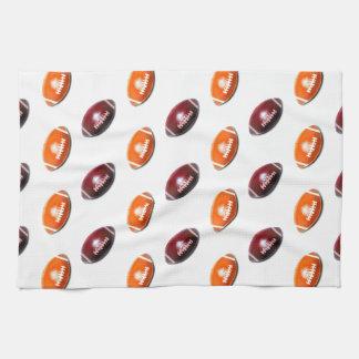 Dark Red and Orange Football Pattern Towels