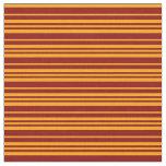 [ Thumbnail: Dark Red and Orange Stripes Fabric ]
