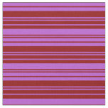 [ Thumbnail: Dark Red and Orchid Striped Pattern Fabric ]
