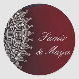 Dark red and silver design classic round sticker
