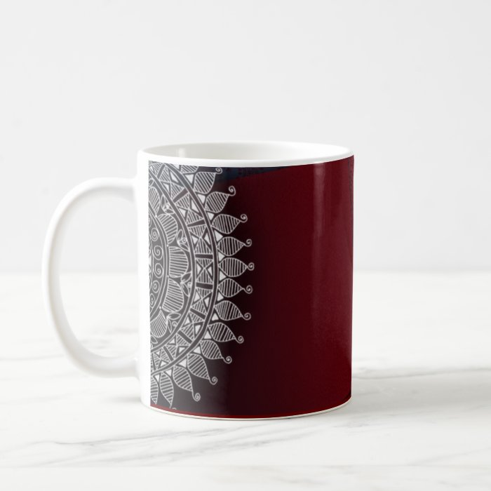 Dark red and silver design coffee mug