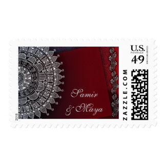 Dark red and silver design postage