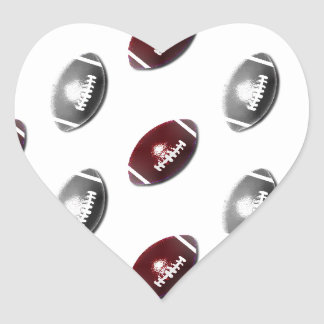 Dark Red and Silver Football Pattern Heart Sticker