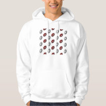 Dark Red and Silver Gray Football Pattern Hoodie