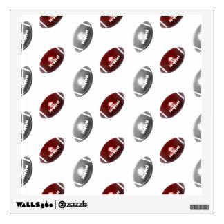 Dark Red and Silver Gray Football Pattern Wall Sticker