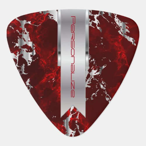 Dark Red and Silver Marble Design Guitar Pick