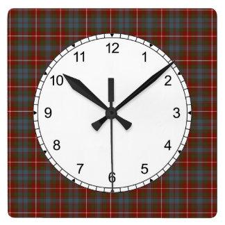 Dark Red and Steel Blue Fraser of Lovat Tartan Square Wall Clock