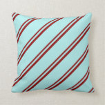 [ Thumbnail: Dark Red and Turquoise Colored Stripes Pillow ]