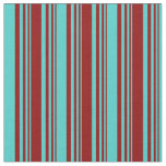 [ Thumbnail: Dark Red and Turquoise Stripes Pattern Fabric ]