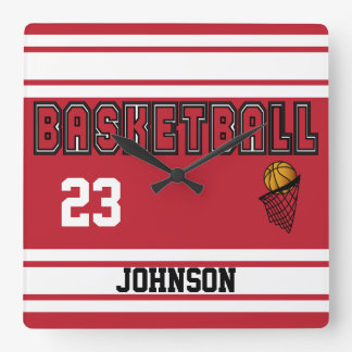 Dark Red and White Basketball Square Wall Clock