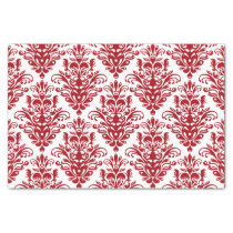 Dark red and White Elegant Damask Pattern Tissue Paper