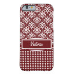 Dark Red and White Floral Art Deco Damask iPhone 6 Case