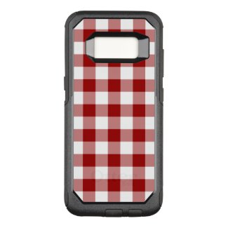 Dark Red and White Gingham Pattern OtterBox Commuter Samsung Galaxy S8 Case