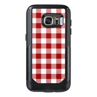 Dark Red and White Gingham Pattern OtterBox Samsung Galaxy S7 Case