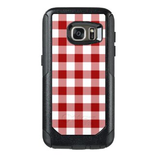 Dark Red and White Gingham Pattern OtterBox Samsung Galaxy S7 Case