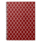 Dark Red And White Moroccan Trellis Pattern Notebook
