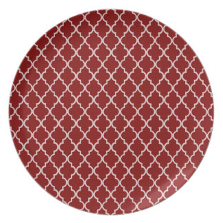 Dark Red And White Moroccan Trellis Pattern Party Plates