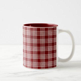 Dark Red and White Plaid Two-Tone Coffee Mug