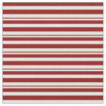 [ Thumbnail: Dark Red and White Stripes Pattern Fabric ]