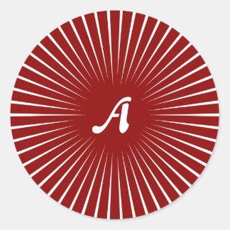 Dark Red and White Sunrays Monogram Round Sticker