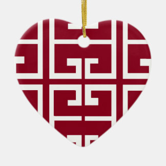 Dark Red and White Tile Ceramic Ornament