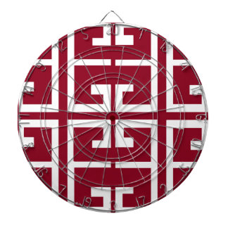 Dark Red and White Tile Dart Board