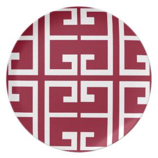 Dark Red and White Tile Dinner Plate