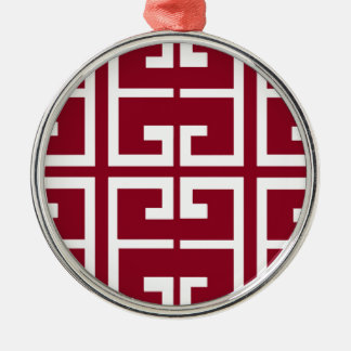 Dark Red and White Tile Metal Ornament