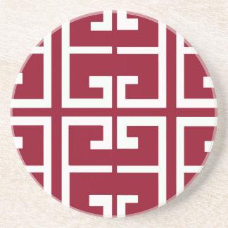 Dark Red and White Tile Sandstone Coaster