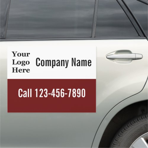 Dark Red and White Your Logo Here Car Magnet