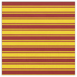 [ Thumbnail: Dark Red and Yellow Stripes/Lines Pattern Fabric ]