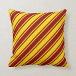 [ Thumbnail: Dark Red and Yellow Stripes/Lines Pattern Pillow ]