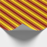[ Thumbnail: Dark Red and Yellow Stripes/Lines Pattern Wrapping Paper ]