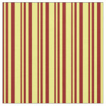 [ Thumbnail: Dark Red and Yellow Stripes Pattern Fabric ]