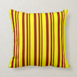 [ Thumbnail: Dark Red and Yellow Stripes Pattern Throw Pillow ]