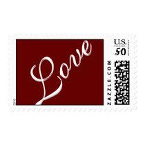 Dark Red Attractive Script Love Wedding Postage