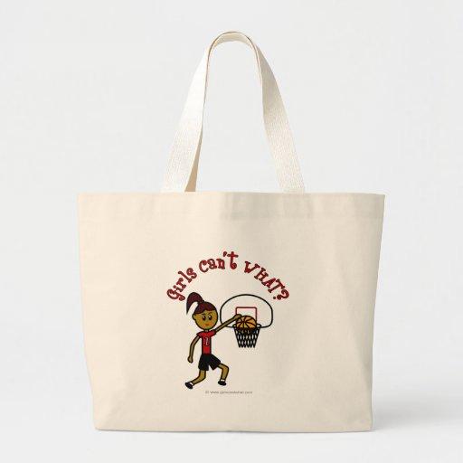 Dark Red Basketball Canvas Bags