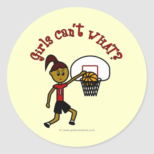 Dark Red Basketball Classic Round Sticker