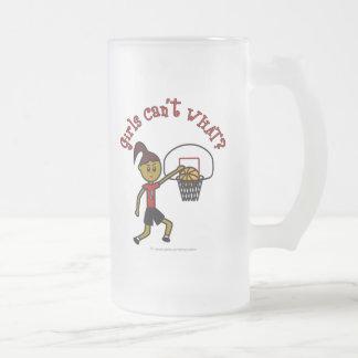 Dark Red Basketball Frosted Glass Beer Mug