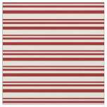 [ Thumbnail: Dark Red & Beige Colored Pattern of Stripes Fabric ]