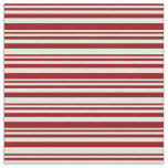 [ Thumbnail: Dark Red & Beige Colored Stripes Pattern Fabric ]