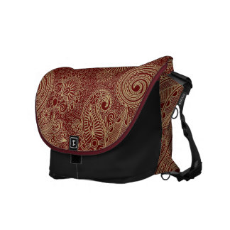 Dark Red & Beige Vintage Floral Damasks Messenger Bag