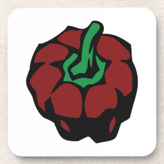 Dark Red bell pepper top view graphic Coaster
