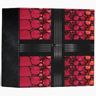 Dark Red Black Bling 3 Ring Binder