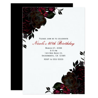 Dark Red & Black Flowers Floral Gothic Invitations