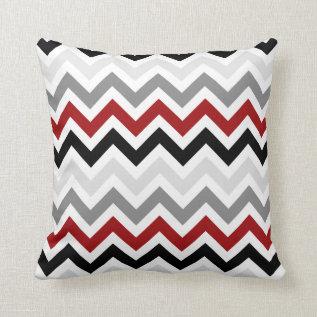 Dark Red Black Gray Chevron Zigzag Pattern Throw Pillow at Zazzle